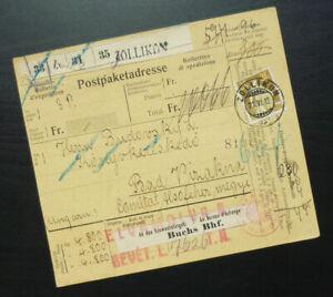 Switzerland 1912 Package Card from Zollikon to Bad Vizakna Hungary - Budapest A3