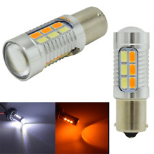 Pair 1156 5630 P21W BA15S LED Bulbs White/Amber Switchback LED Turn Signal Light