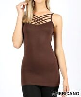 Seamless Triple Criss Cross Camisole Tank Top Caged Caging Straps Regular Plus