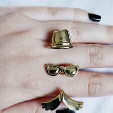 Awesome 2 Finger Ring Gold Moustache Hat & Glasses Quirky Kitsch Retro Topshop