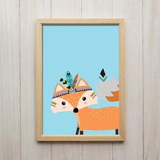 Bild Fuchs Kunstdruck A4 Tier Poster Niedliche Kinderzimmer Dekoration Druck