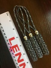 550 Paracord Knife Lanyard 3pk Gutted Titanium Cord Beaded