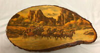 Western Print Stage Coach Vintage Rustic Tree Ring Unique Retro Wood Plaque Wall
