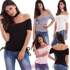 Maglia donna maglietta top collarino corset laccetti elastica carmen nuova V7147