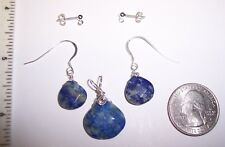 C Lapis faceted teardrop Pendant/Earring SET Reiki Sterling Silver