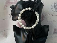 Beautiful large silver tone faux pearl bead & diamante big hoop earrings - 8cm