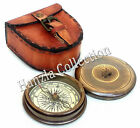 Robert Frost Poem Nautical Antique Brass Marine Pocket Compass With Leather Case