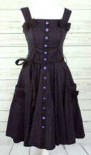 Hell Bunny Womens Rockabilly 50s Style Black Polkadot Spotted Dress XS UK 8