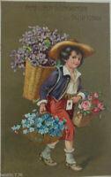 """Geburtstag, Kinder,Blumen, Korb, Brief"" 1910, Prägekarte ♥"