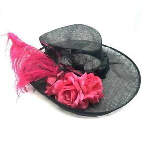 Kentucky Derby Wide Brim Giovannio Designed in England Women's Dress Hat Black