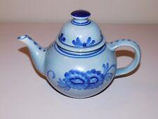 Blue Floral Pottery Teapot - Excellent Condition