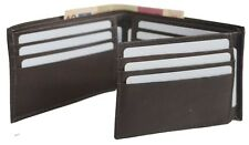Cow Leather Mens wallet Bifold Credit Card-Trifold Flap Out ID Window Brown