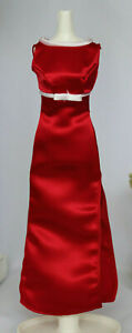 Red satin long Retro 60s dress formal Jackie style President Barbie gown fit MM