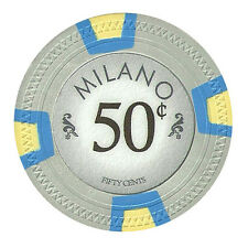 100 Gray 50¢ Cent Milano 10g Clay Casino Poker Chips New - Buy 4, Get 1 Free