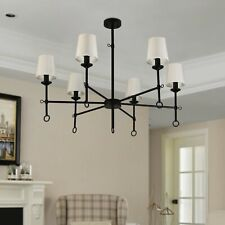 6-Light Shaded Chandelier Large Lighting Black Country/Farmhouse. New E14
