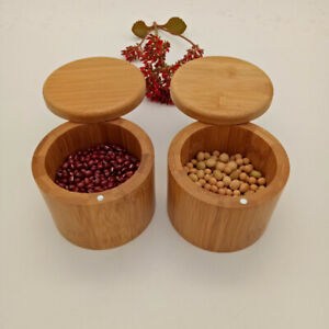 1PC Bamboo Condiment Jar Polished with Lid Seasoning Container for Kitchen