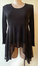 New Black dipped hem top EVERSUN size 10 NWT long sleeves