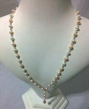 VINTAGE con 925 Argento Bianco Rosa cablata Pearl 16 in (ca. 40.64 cm) Teardrop Collana Da Sposa
