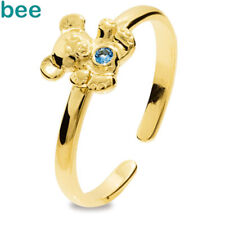 Girls Teddy Bear blue stone Budget 9ct Yellow Gold Ring Size K 5.25 25291/SPAQ'K