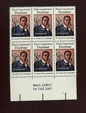 US Stamps, Scott #1554 10c 1975 'Mail Early' Block of 6 of Dunbar XF/S M/NH.
