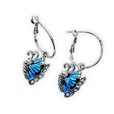 Plata y Azul Esmalte Mariposa Pendientes De Aro