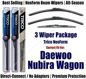 3-Pack Wipers Front & Rear NeoForm - fit 1999 Daewoo Nubira Wagon 16200x2/30150