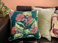 BRIGHT Floral Spray Barkcloth Pillow Cover - Genuine Vintage; Boho Christmas!