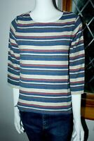 Seasalt Blue Red Round neck 3/4 Sleeves Striped Blouse Top Shirt 8 10 12 14 16