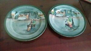 Royal Doulton Series ware Pair Of Plates Fireside Pattern Very Rare