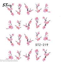 Nail Art Water Decals Decoration Pink Oriental Japanese Flowers Gel Polish (219)