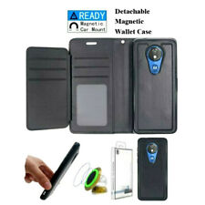 Motorola Moto G7 Play - Black Leather Multi Card DETACHABLE Wallet Pouch Case