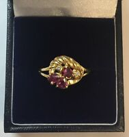 18CT YELLOW GOLD RUBY & DIAMOND DRESS RING