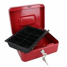 "More details for 8"" petty cash box money coin tin deposit security safe organiser 2 keys red"