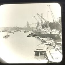 Vtg Keystone Magic Lantern Glass Slide Photo Ships Thames River London England