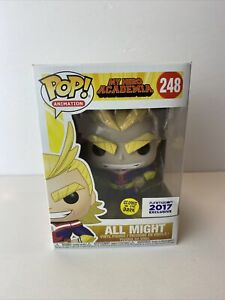 Funko POP! My Hero Academia All Might #248 GlTD Funimation 2017 W/Hard Stack