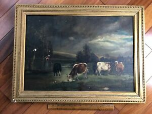 Antique Original Oil on Canvas Painting Cows Farm Country Scene Framed