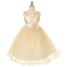 Flower Girl Kid Princess Wedding Bridesmaid Party Formal Sequin Ball Gown Dress