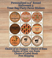 """12 HALLOWEEN FALL Cute Personalized ROUND 2.5"""" Treat Bag Stickers 3 Candy Corn"""