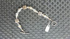 Art. Bich Glass STG Flower Beaded Silver Bracelet Flowers on Clasp