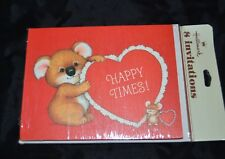 Vtg Hallmark Happy RED VALENTINES  Invitations Koala Bear Pkg 8 MOUSE Sealed