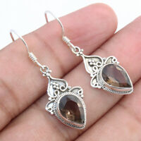 Smoky Quartz Solid 925 Sterling Silver Drop Dangle Earrings