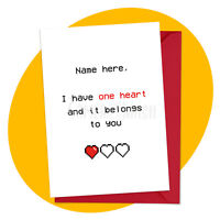 One Heart - PERSONALISED ROMANTIC CARD anniversary valentine's love retro gamer