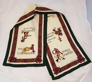 "Irish Gaelic Scarf- Inspired by the Book of Kells 53×12"" Celtic Style Ireland"