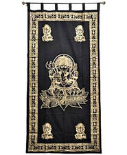 Ganesh Tapestry Curtain Gold Print Wall Hanging, Door-Window Curtain NEW