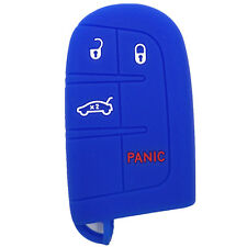 Blue Silicone Keyless Remote Key Fob Case Skin Cover fit for Dodge 4 Buttons
