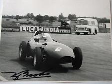 Tony Brooks SIGNED B&W Original Press Vanwall Photo Silverstone 1958,