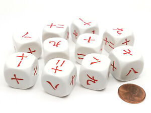 Pack of 10 20mm D6 Japanese and Chinese Number Dice 7 to 12 - White with Red