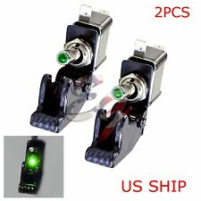 2X C1 Green LED Light Carbon Cover 12V 20A Rocker Toggle Switch SPST ON/OFF Car