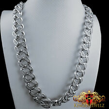 Men's Miami Cuban Chain Necklace 14k White Gold Finish 18MM 30 inches 250 Grams