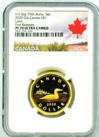 2020 CANADA SILVER PROOF LOONIE DOLLAR NGC PF70 UCAM GILT LOON FIRST RELEASES